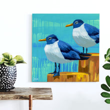 "Load image into Gallery viewer, ""Perched Pals"" Shore Bird Art by Dora Knuteson"