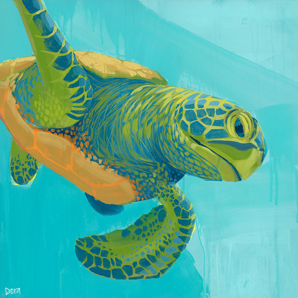 """Electric Slide"" Sea Turtle Art by Dora Knuteson"