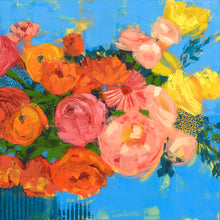 Load image into Gallery viewer, Orange Crush Floral Artwork by Dora Knuteson