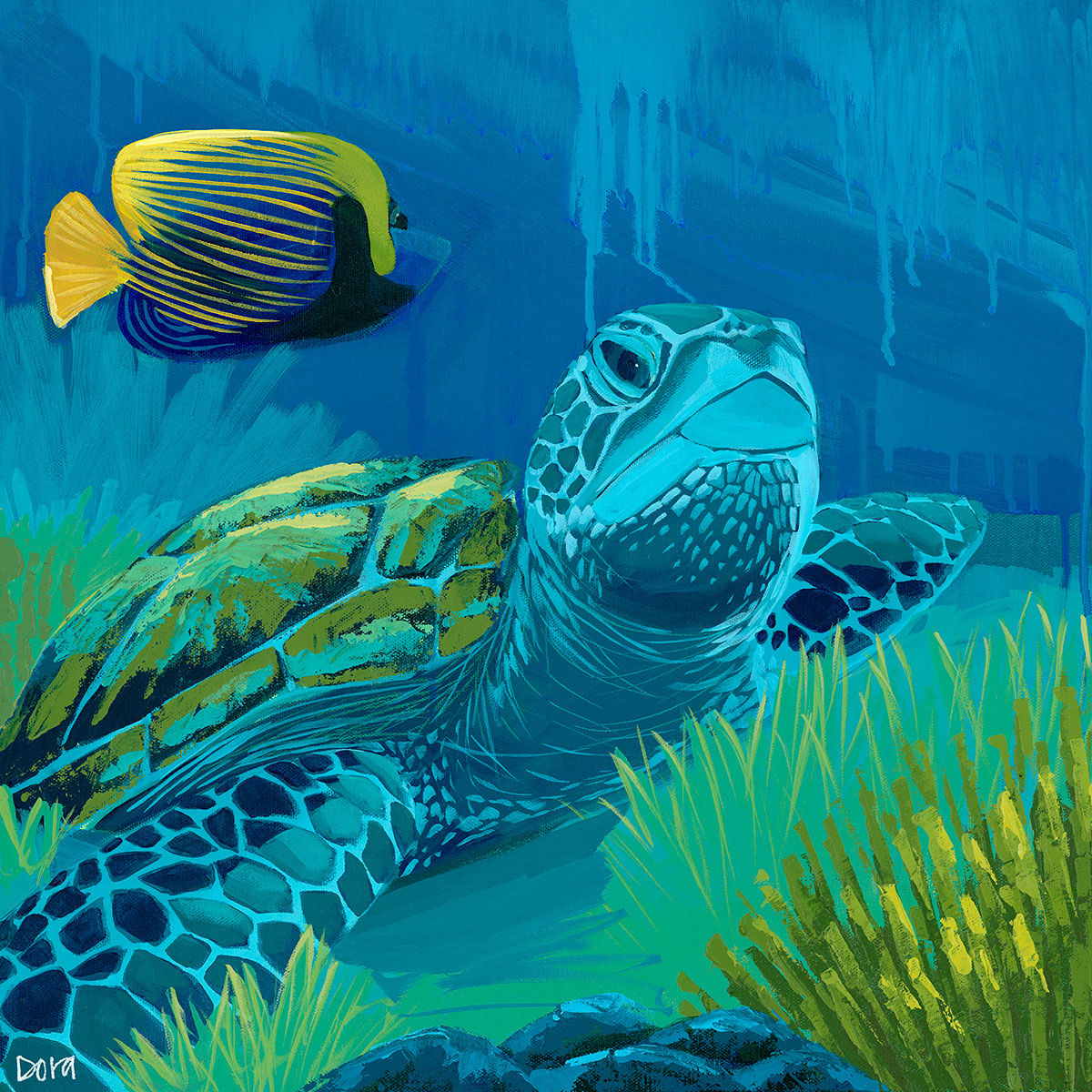 """Rest and Reflect"" Sea Turtle Art by Dora Knuteson"