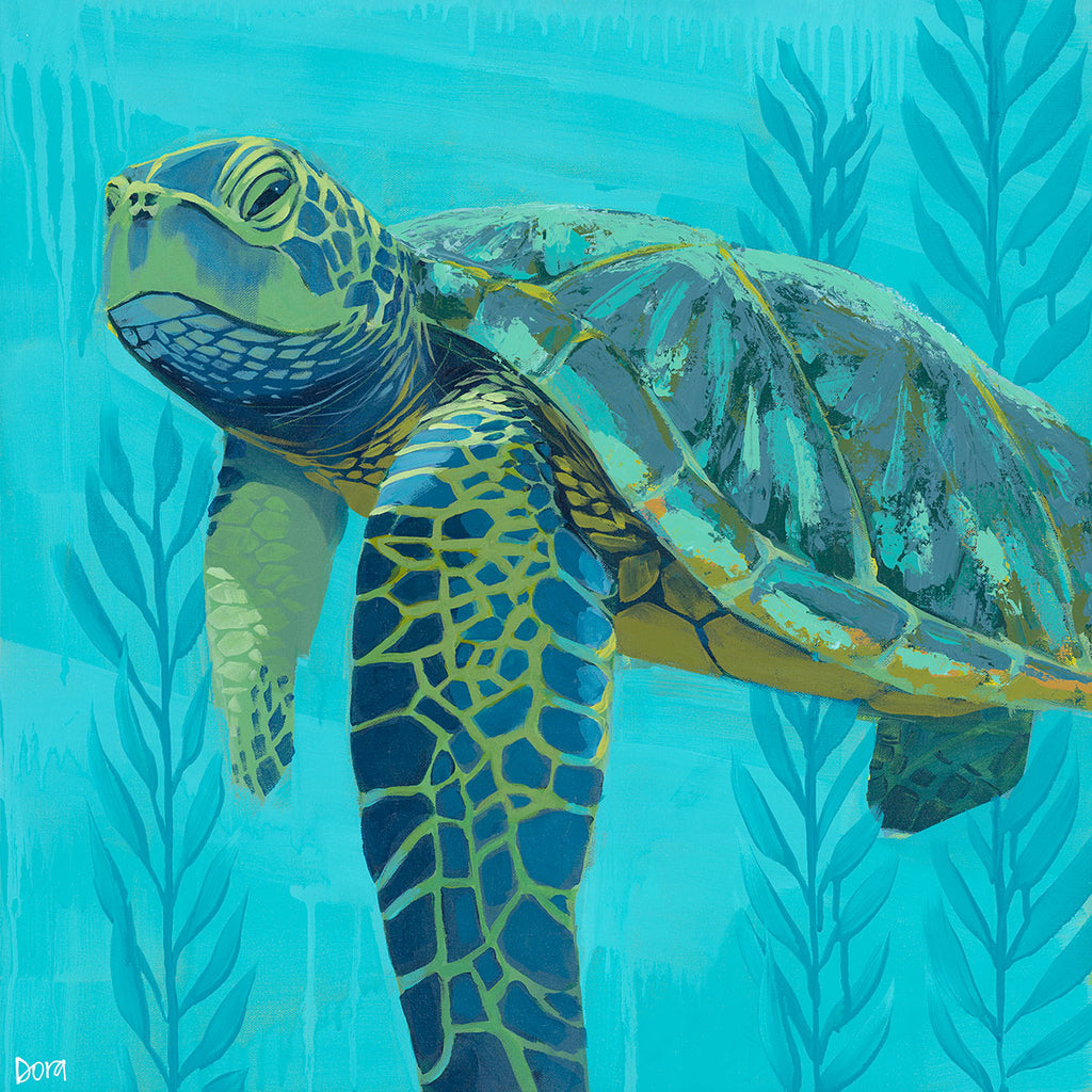 """Seaweed Soak"" Sea Turtle Art by Dora Knuteson"