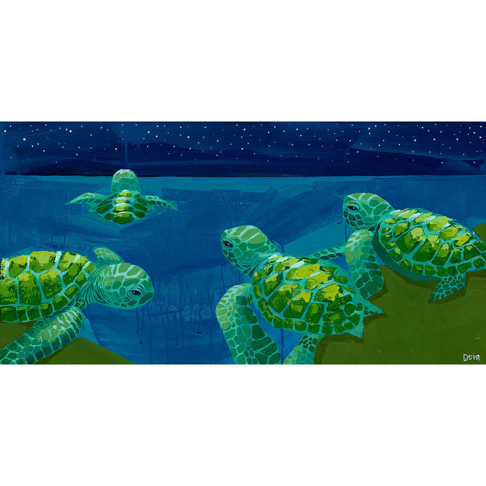 Starry Send-Off - Sea Turtle Art by Dora Knuteson