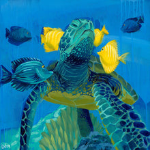 "Load image into Gallery viewer, ""The Good Life"" Sea Turtle Art by Dora Knuteson"