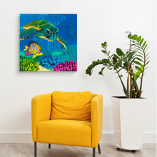 Load image into Gallery viewer, Sea Turtle Coral Reef painting by Dora Knuteson