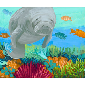"""White Whiskers"" Manatee Art by Dora Knuteson"