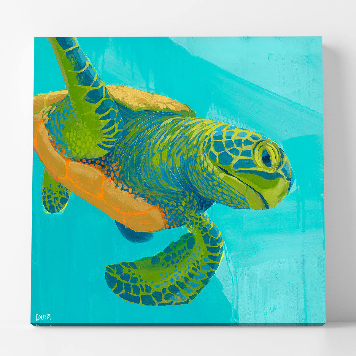"Preview of ""Electric Slide"" Sea Turtle Art by Dora Knuteson"