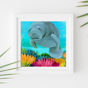 Sample Frame with Manatee Study #2 by Dora Knuteson