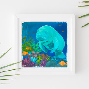 Sample Frame with Manatee Study #5 by Dora Knuteson