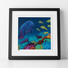 "Load image into Gallery viewer, Preview of ""Midnight Manatee"" in Black Frame"