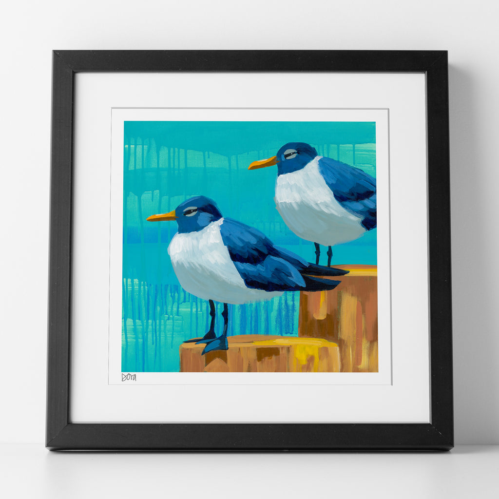 "Matted 10x10 ""Perched Pals"" Print by Dora Knuteson"
