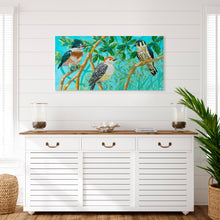 "Load image into Gallery viewer, Sample Installation of ""Three Little Birds"" Gallery Wrap"