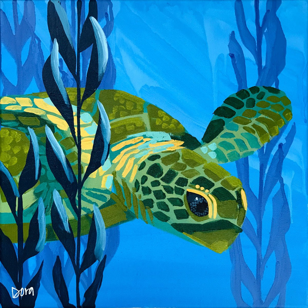 """Curious Quest"" Sea Turtle Art by Dora Knuteson"