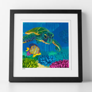 "Sample of matted, framed and signed ""Turtle Reef"" Print by Dora Knuteson"