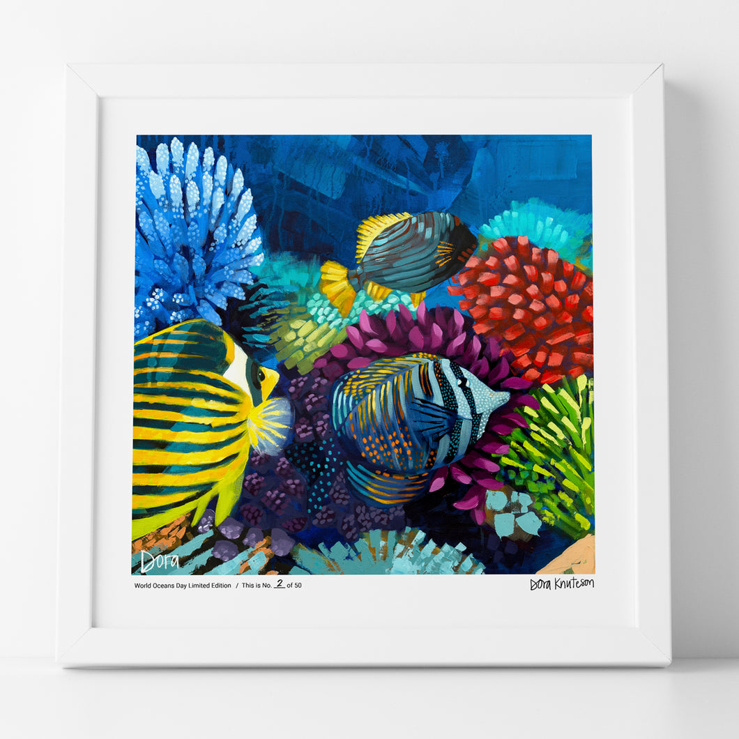 Coral Reef painting by Dora Knuteson to benefit World Oceans Day 2019