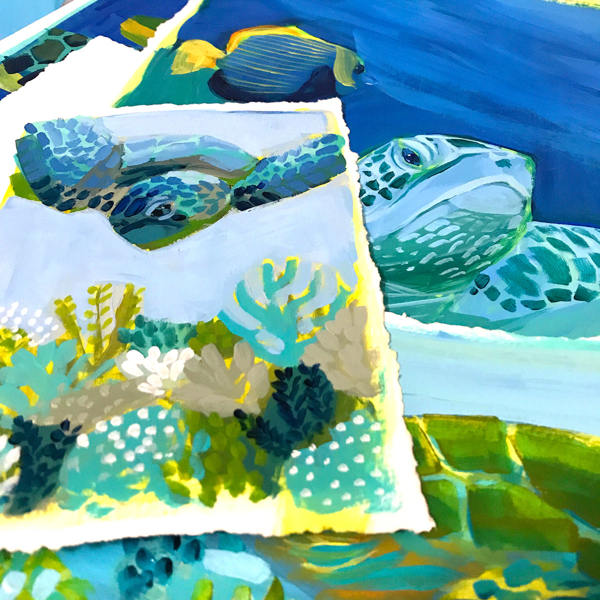 Acrylic Sketches for Save the Sea Turtles Collection by Dora Knuteson
