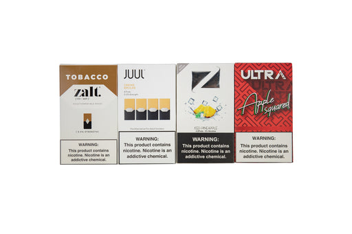 Ziip Pods - Iced Pineapple  Juul - Creme  Zalt - Tobacco  Ultra Max - Apple Squared