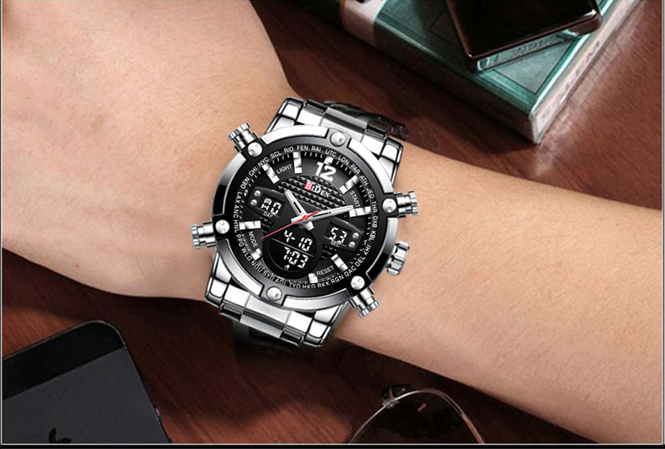 Biden® 50mm Black Multi Functional Business Men Watch