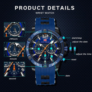 IK Colouring®Mens Watch,Casual Sport Chronograph Watch Analog Quartz Wrist Watch Silica Gel Band