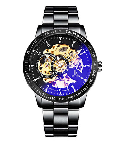 IK Colouring® 42mm Elegant Black Steel Bracelet Coated Glass Watch