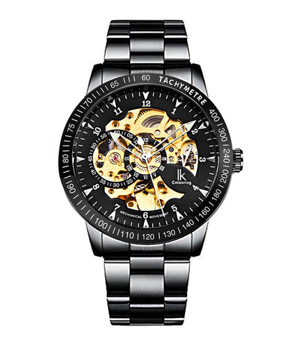 IK Colouring® 42mm Elegant Black Steel Bracelet Watch
