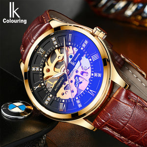 IK Colouring® 41mm Black Fashion Leather Strap Watch