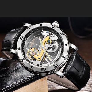 S2SQURE® 43mm Black Luxury Steampunk Watch Leather Strap