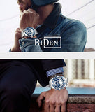 Biden® 43mm Slivery Fashion Style Traditional  Chronograph Business Watch