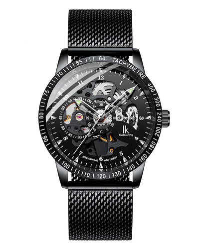 IK Colouring® 42mm Black Luxury Mesh Band Watch
