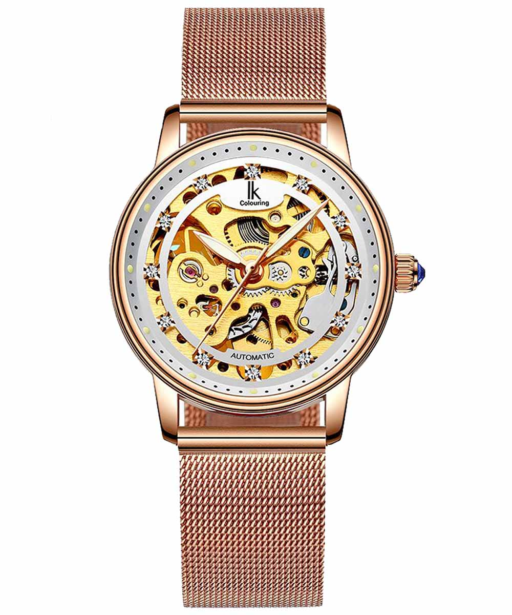 IK Colouring® 36mm Rose Golden Skeleton Women Watch