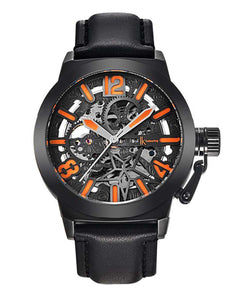 IK Colouring® 44mm Black Sport luminous Leather Strap Watch