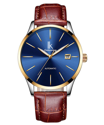 IK Colouring® 40mm Casual Day Date Leather Strap Watch