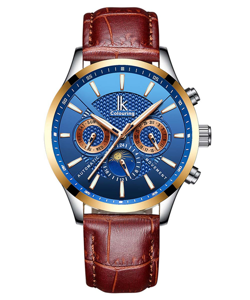 IK Colouring® 41mm Business Automatic Leather Strap Watch
