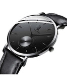 IK Colouring® 40mm Black Fashion Leather Strap Watch