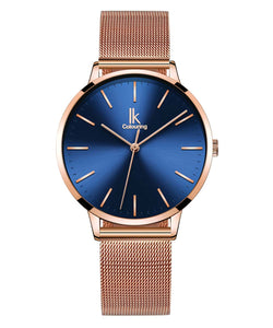 IK Colouring® 36mm Rose Golden/Slivery Elegant Mesh Band Watch