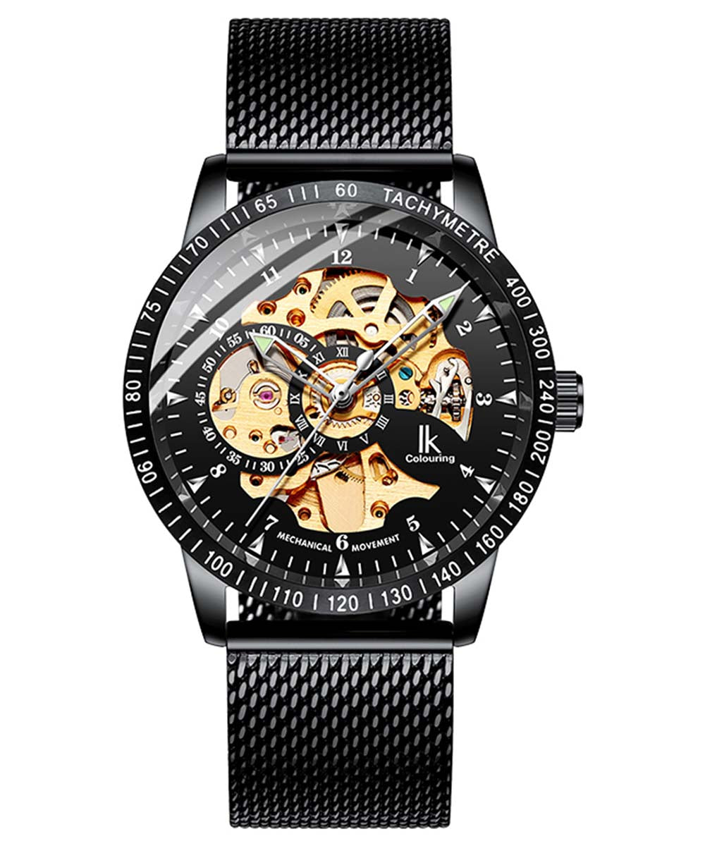 IK Colouring® 42mm Golden/Black Casual Mesh Band Watch