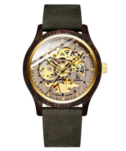 IK Colouring® 44mm BROWN/GRAY Wooden Case Watch