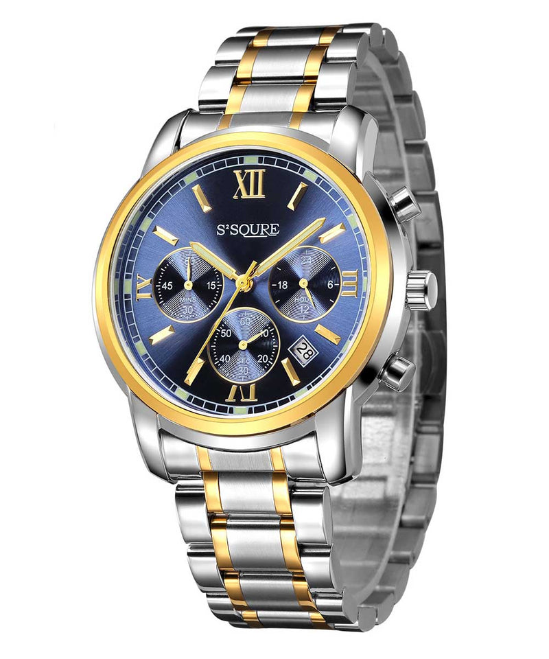 S2SQURE® 41mm Blue Traditional Chronograph Watch