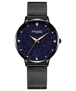 S2SQURE® 36mm Blue Sandstone Dial Black Mesh Band Watch