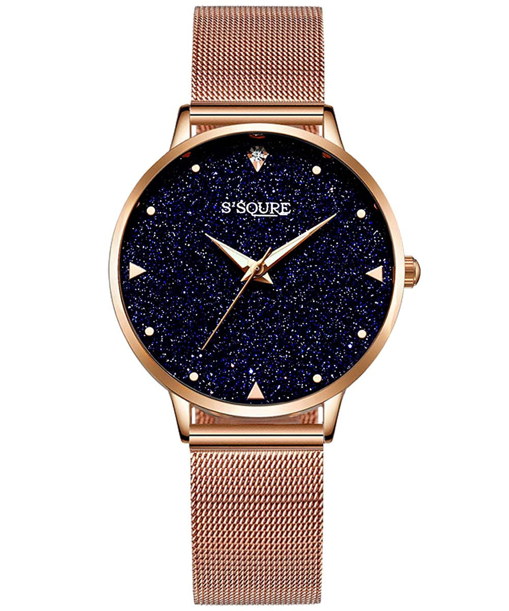 S2SQURE® 36mm Blue Sandstone Dial Rose Mesh Band Watch