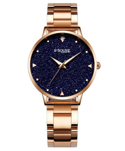 S2SQURE® 36mm Blue Sandstone Dial Golden band Watch