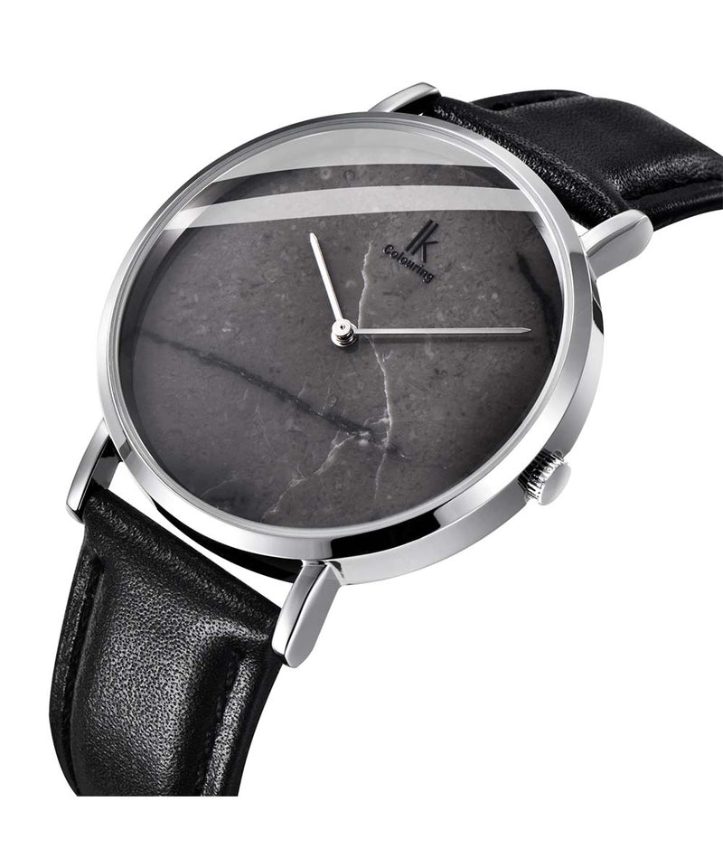 IK Colouring® 40mm Marble Face Minimalist Leather Strap Watch