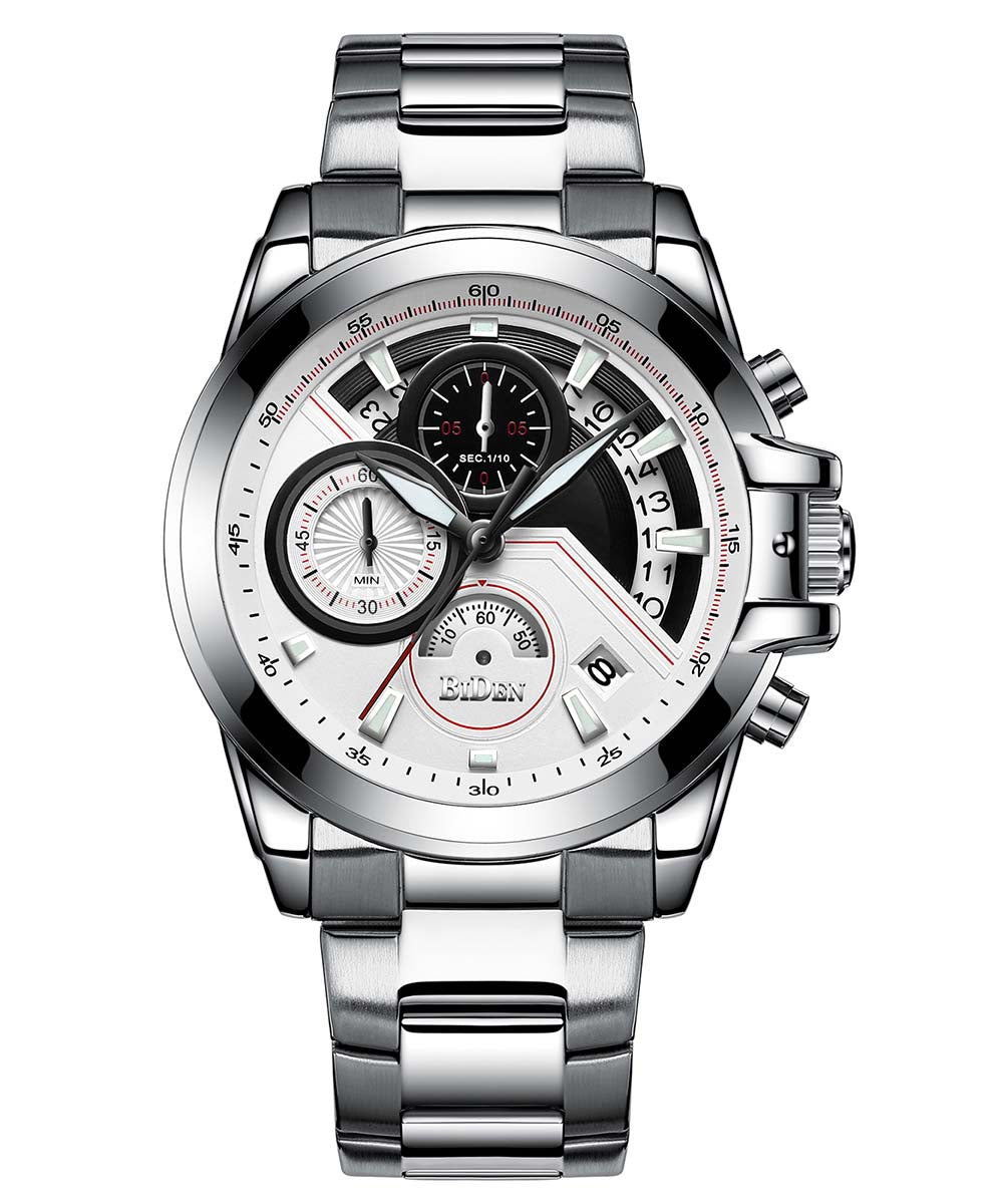 Biden® 42mm Slivery Business Traditional  Chronograph Men Watch