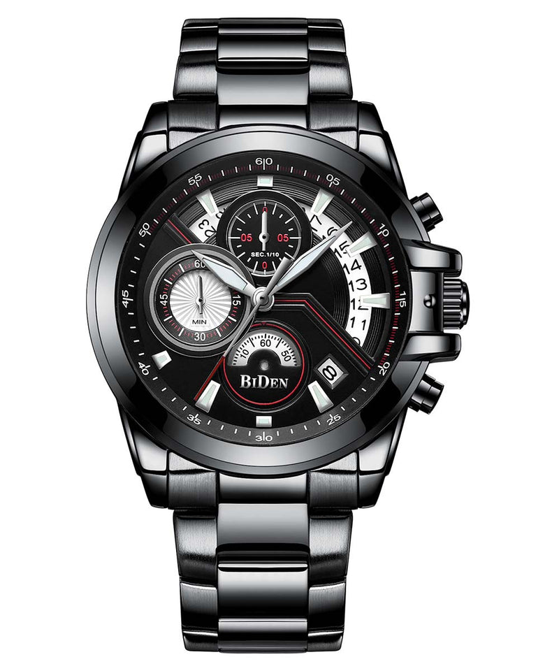 Biden® 42mm Black Business Traditional  Chronograph Men Watch