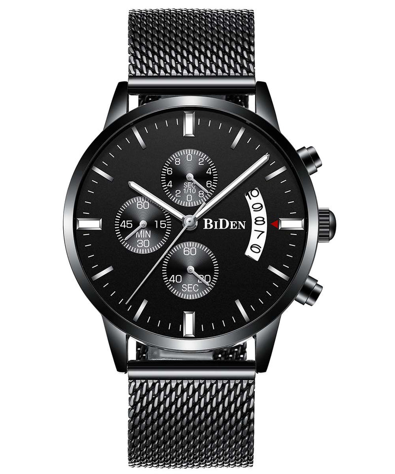 Biden® 44mm Black Fashion Traditional  Chronograph Mesh Band Watch