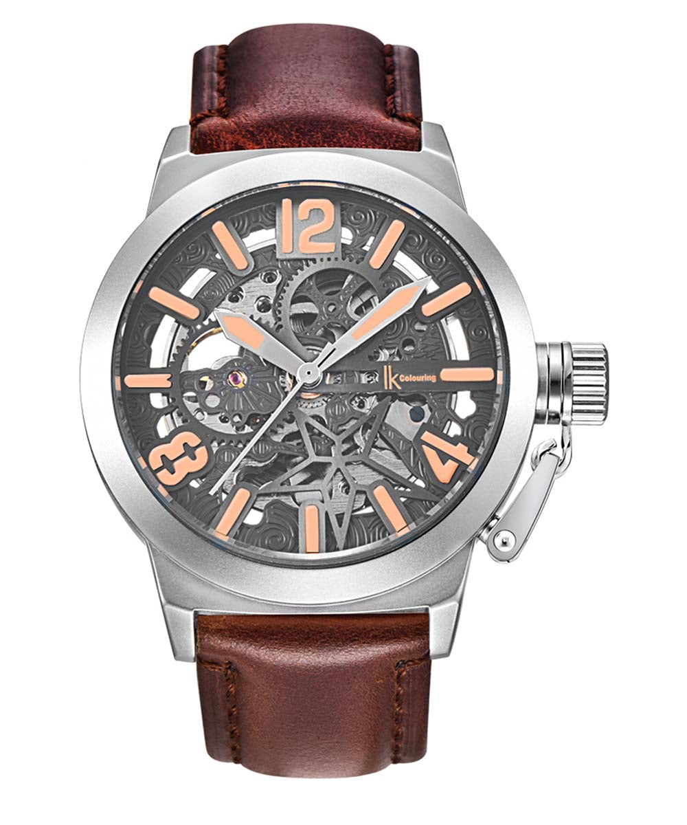 IK Colouring® 44mm Brown Sport luminous Leather Strap Watch