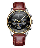 IK Colouring® 41mm Traditional Chronograph Leather Strap Watch