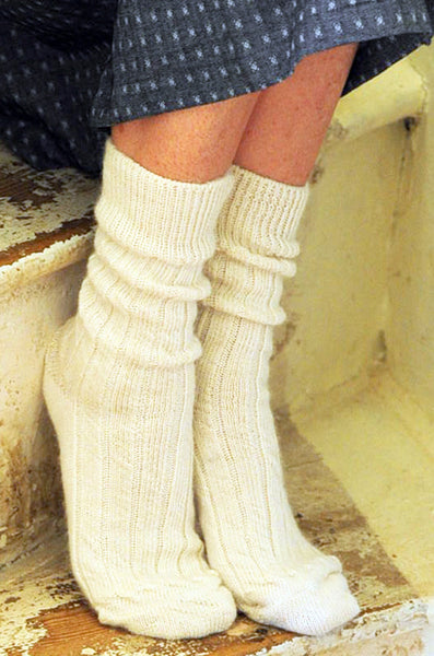 Clotted Cream Alpaca Bed Socks