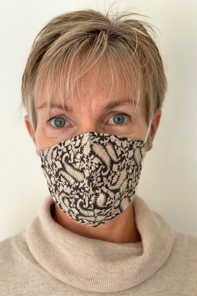 Black Paisley cotton print reusable face mask