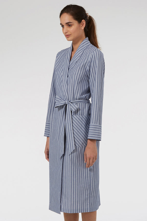 Blue Stripe Dressing Gown