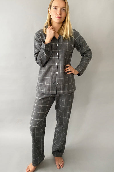 Brushed Grey Windowpane Classic Pyjama Set